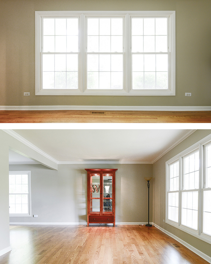 Before pictures of living room before wood blinds were installed
