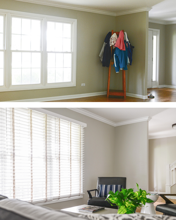 Before and after wood blinds in living room