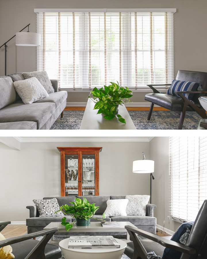 After picture of living room with wood blinds