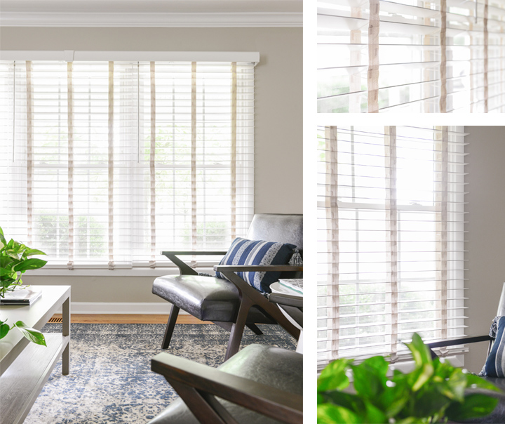 Close up views of wood blinds installed in living room