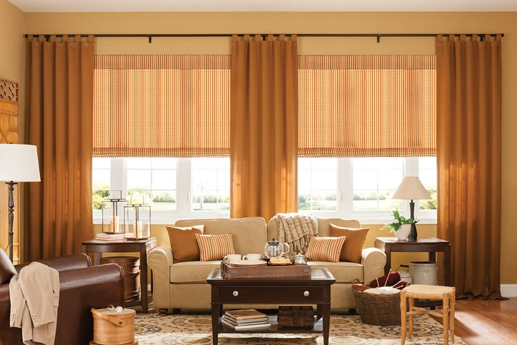 Bali Draperies with Classic Tab with Bali Seamless Roman Shades