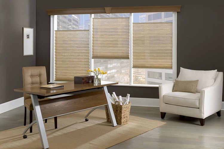 2 Inch Bali Pleated Shades with Cordless Bottom up top down control in an office