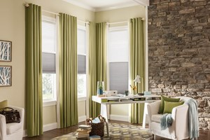 Custom Drapery with Pleated Shades
