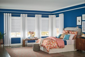 Bali HIC Classic Roman Shades in Looped Style with Cordless Lift: Hoehne II, Mushroom 3571; Decorative Panels with Grommet Top: Easton, Blanc 3460 Products: Classic Roman Shade: 3571 Watford II, Fawn - looped Roman shades with 3460 Garrett, White