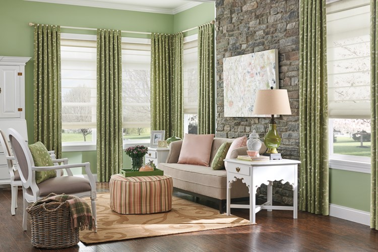 Bali HIC Classic Roman Shades in Flat Style with Cordless Lift: Hysham, Mushroom 3631; Drapery with Classic Tabs: Trellis, Spring Green 1243 Products: Classic Roman Shade - Sheer: Flat Style, Cordless, Orrin, Fawn 3631 with fabric-wrapped cornice: 1243 Hasting, Leaf