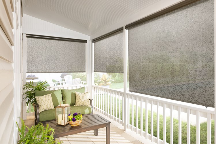 Custom exterior solar shades bali blinds and shades for Exterior motorized solar shades