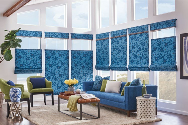 "Bali HIC Tailored Roman Shades in Seamless Style with Bottom Up/Top Down Cord Lift and Valance: Maverick, Bayshore 6871 with 1½"" Mingled Globe Fringe: Camel"