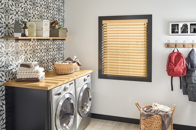 "2 1/2"" Premium Faux Wood Blinds with Cordless Lift/Wand Tilt: Natural 7036 with 3"" Standard Valance"